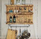 dekorie67 Küchenregal Gewürzregal Hängeregal Borte Shabby Vintage Holz Braun geflammt