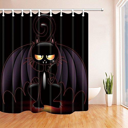 Creative Halloween Decor Schwarz Katze auf Kürbis Polyester-Duschvorhänge-Wasserdicht Bad Vorhang 179,8x 179,8cm Duschvorhang Haken im Lieferumfang enthalten (Halloween-katze Auf Kürbis)