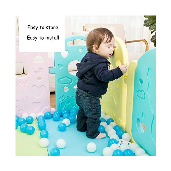 Baby Playpen - Children'S Safety Toys Crawling Mat - Activity Center - Environmental Hdpe - Suitable For 0-6 Children-11 Activity Panel - Rugged - Waterproof  ♥ You can use and combine all the fences to create entertainment for your child anywhere in the home. ♥ It can be changed into different shapes. You can change the frame according to your baby's preferences and bring a different feeling every day. ♥ Can be used as a fence or protective barrier, flexible mounting options, very simple assembly and unlimited scalability. 2