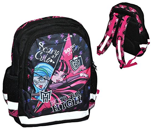 Unbekannt Monster High - großer Rucksack / Schulrucksack - Draculaura - für Kinder - mit 5 Fächern + Reflektor Kinderrucksack / mit Trinkflaschenhalterung - groß Kind M.. (Monster Kinder High)
