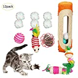 Gatto interattivo giocattolo set 12PCS topi tunnel Feather Teaser Crinkle palle per Kitty scratch Toys Rolling Board Pet Kitten tiragraffi in sisal divertente indoor gatti gattini gioca bambole roller Rustled Paper Cage mouse varietà