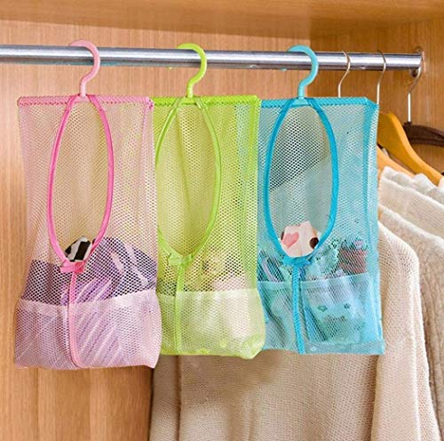 ZIZLY Multipurpose Clothespin Bag with Hanger,Hanging Storage Mesh Bag for Home Over The Door - Pack of 3 Laundry Net Pouch Bathroom Organizer