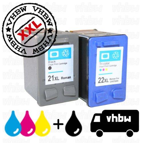Vhbw set cartucce di ricambio a inchiostro per stampante hp deskjet f375, f378, f380, f385, f388, f390, f394, f4100, f4135, f4140, f4172