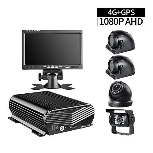 XFGBTJKYUT GISION Neues 4G GPS 1080P mobiles DVR-Kit, 4-Kanal-Auto-DVR-Recorder mit 4pcs AHD 2.0MP-Kameras 7-Zoll-VGA-Farbmonitor für LKW-RVS-Bus 500 Gb Dvr