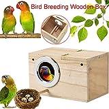 ToDIDAF Wooden Bird House, Wood Breeding Box Parakeet Nest Box Bird House Wood Breeding Box for Lovebirds Parrotlets Mating Box Outdoor Bird Nest Bird House