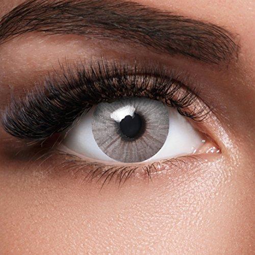 GLAMVUE Sydney Grey + Behälter I Sehr stark deckende graue natürliche graue Kontaktlinsen farbig I 1 Paar (2 Stück) I DIA 14.00 I ohne Stärke -