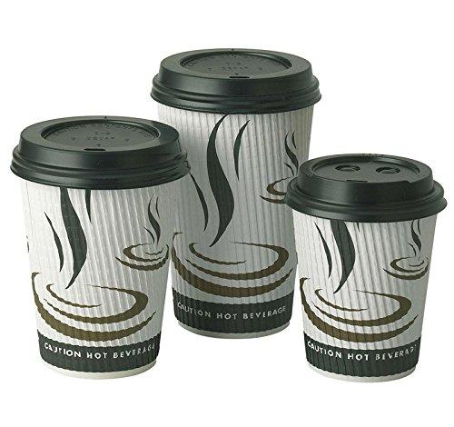 THALI Outlet Leeds–100x eingewoben Klauenhammer, geriffeltes Papier Tassen + schwarz Deckel Einweg isoliert für Tee Kaffee Cappuccino Heiße Getränke