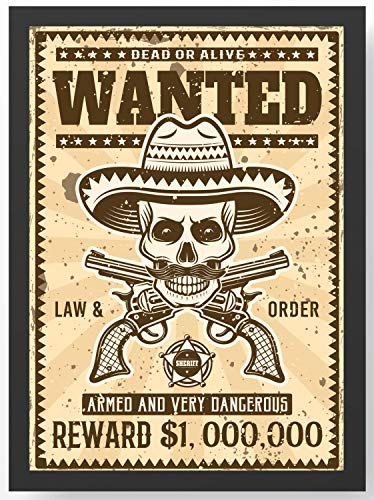 Retro Vintage Western Wanted Kunstdruck Poster -ungerahmt- Bild DIN A4 A3 K0117 Größe A4
