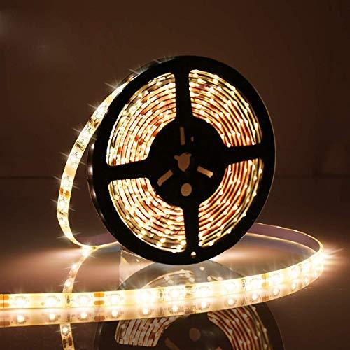 Dimmbare LED-Lichtleiste Kit,5M / 16.4Ft Warmweiß LED-Leiste mit Controller Nicht-wasserdichte,300 SMD 5050 DC 12V unter Kabinett Beleuchtung Streifen für Heimtextilien Küche Heimbeleuchtung