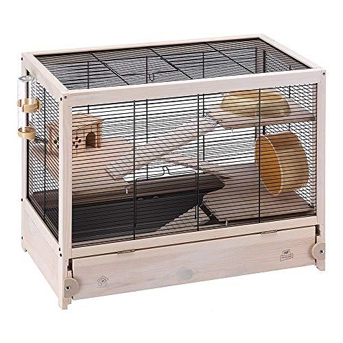 Ferplast gabbia in legno per criceti hamsterville, casetta per topolini e piccoli roditori, struttura su più livelli, accessori inclusi, 60 x 34 x 49 cm nero