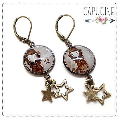 Boucles d'Oreilles Bronze Pendantes Étoiles avec Cabochon en Verre Fillette Marron Effet Sépia