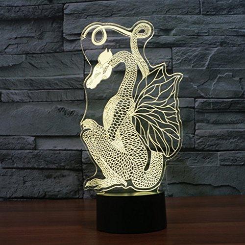 3d ilusión lámpara jawell luz nocturna dragón 7colores cambiantes Touch USB mesa...