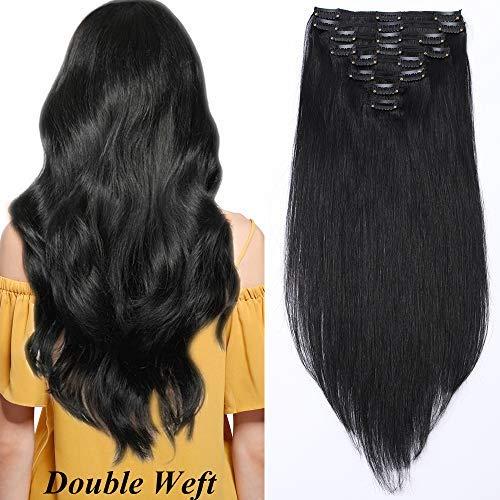 14'(35cm) Extensiones de Cabello Natural Clip Double Weft(Muy...