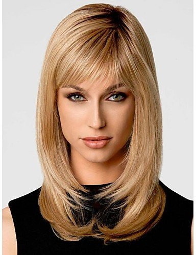 Perruque & xzl Perruques Fashion Bang mode Gloden de côté doux de longueur moyenne bouclés perruque de cheveux synthétiques