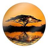 Glasbild Afrika - rund Sonnenuntergang Savanne Wüste Baum Wasser Steppe Sonnenuntergang Wall-Art - Ø 70 cm