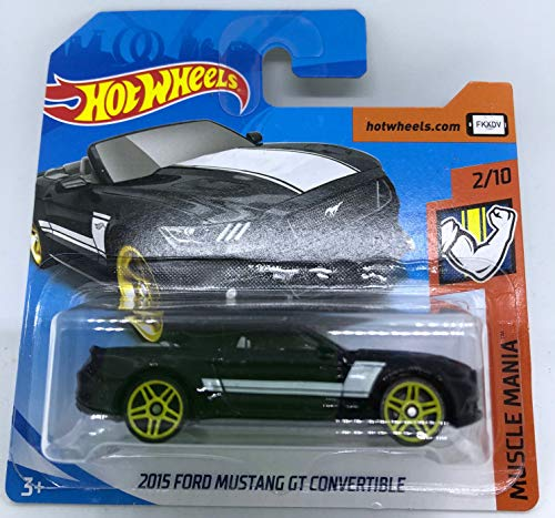 Hot Wheels 2018 2015 Ford Mustang GT Convertible Black 2/10 Muscle Mania 291/365 (Short Card)