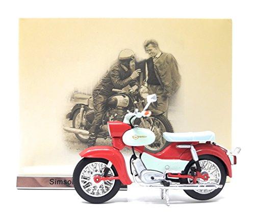 Motorrad Mokick Simson Star creme rot Atlas Modellmotorrad DDR 1:24
