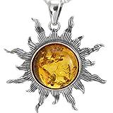 XL 100% Natur Bernstein Sonne Sonnen Anhänger Silber 925 antike Stil,40mm #1519