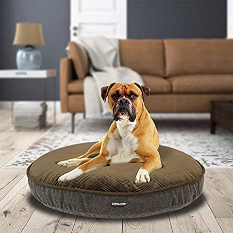 Kirkland Signature 106 cm High Quality Plush Sleeping Surface Round Pet Bed, Brown Chevron
