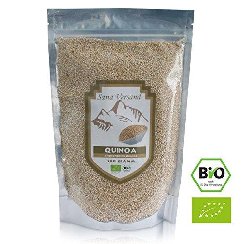 BIO Quinoa Samen Weiß 500g Premium Qualität direkt aus Perú, vegan, Gluten frei für Allergiker, enthält 9 essentielle Aminosäuren und ist reich an Mineralien und Ballaststoffen, Superfood