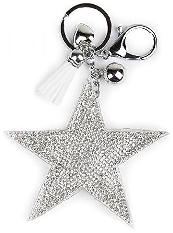 styleBREAKER Schlüsselanhänger mit Strass Stern und Quaste, Kugel, Herz, Befestigungsring, Karabiner, Damen 05050005,