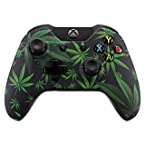 eXtremeRate Xbox One Schutzhülle Case Obere Hülle Cover Oberschale Skin Schale Gehäuse für Xbox One Standard Controller mit Oder Ohne 3,5mm Anschluss(Grüne Cannabis)