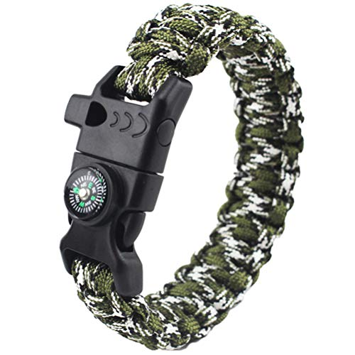 Paracord Survival Armband Feuerstein, Survival Outdoor Überlebensarmband Messer Outdoor, Backpacking Überlebens-Zubehör Edelstahl Verschluss für Herren/Männer