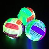Simplehouse LED-Volleyball, Blinkender Igel-Ball, 3 Stück, Springender Blinkender Fußball, LED-Licht, mit Licht, lustige Kinder, Hundespielzeug, LED-Volleyball, blinkendes Licht, Farbwechsel
