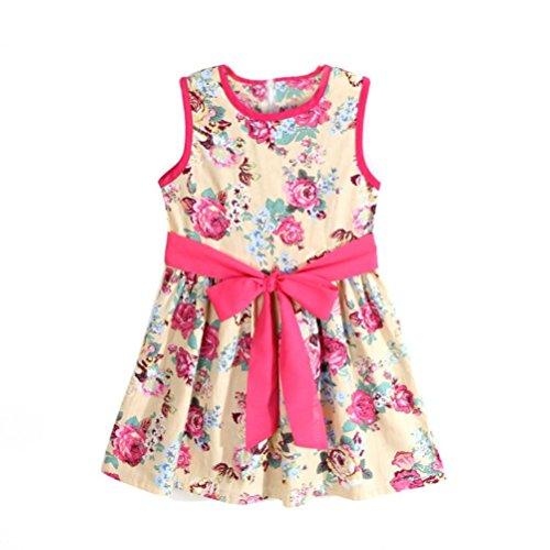 Kinderbekleidung,Honestyi Mädchen Blume Prinzessin Party die Röcke Kinder Formal Ärmellos Blumen Kleid Printkleider Etuikleider Casualkleider Minikleid (130/5-6Y, Weiß)