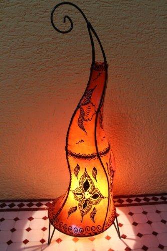 """Orientalische Stehlampe \""""Henna-Rund\"""" 70 cm Leder Orange"""