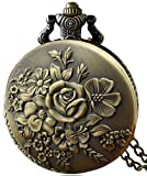 #1: LMP3Creation Classic Vintage Retro Antique Bronze Finish Lovely Embossed Flower Pocket Watch With Chain (POW-0205)