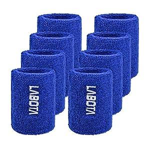 LABOTA 8 Schweißbänder Wristbands Sportarmbänder Baumwolle Elastische Saugfähige für Fußball Basketball, Laufen Athletic…