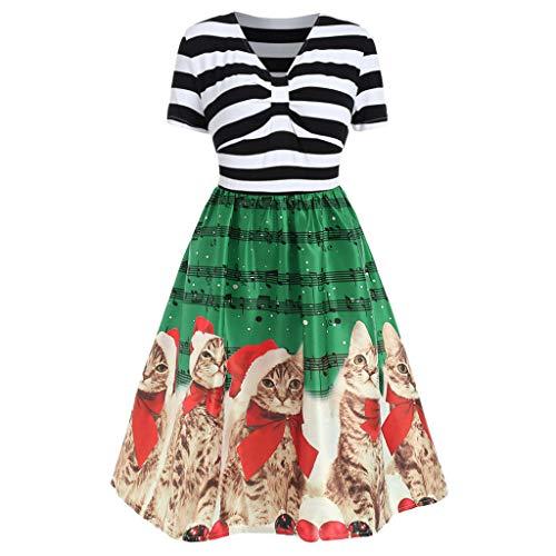 (Kltipeng Damenmode mit V-Ausschnitt Weihnachtskatzen Musikalische Noten Print Vintage Flare Dress(EU-38/CN-L,Z25))