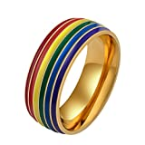 HIJONES Hommes Acier Inoxydable Gay Ranibow Bague Lesbienne Fierté Lgbt 8mm Or Taille 65