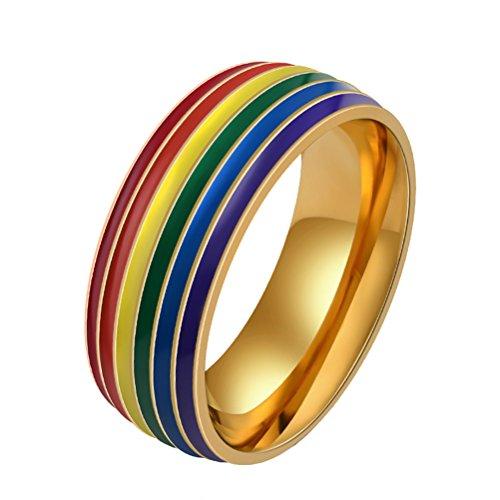 HIJONES Herren Edelstahl Homosexuell und Lesben Lgbt Stolz Ranibow Ring Gold 8mm Größe 60