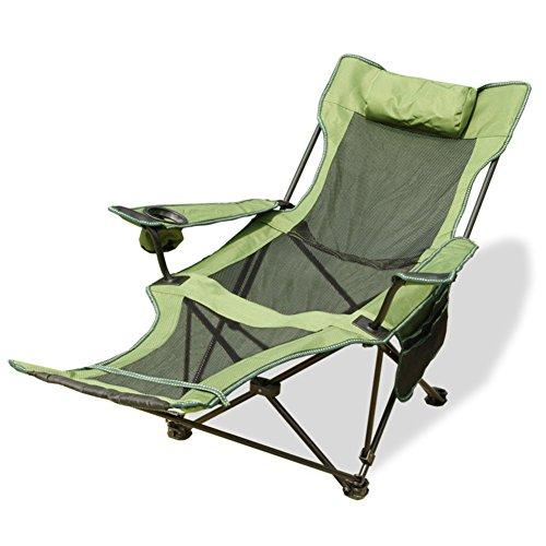HM&DX Tragbare Outdoor Klappstühle Camping stühle mit fußablage Verstellbare rückenlehne Becherhalter Kompakt Camping wandern strand angeln garten -Grün