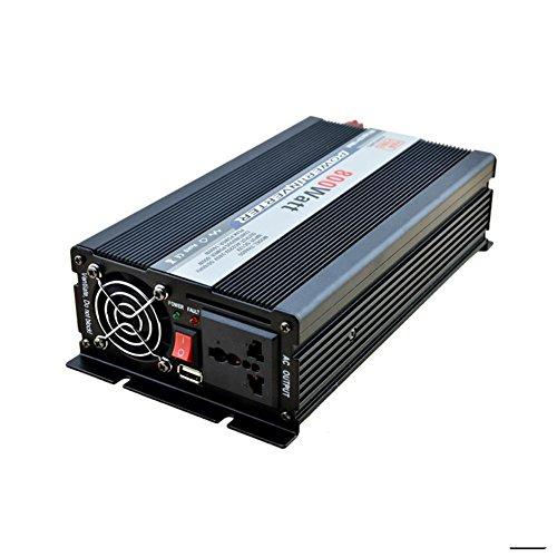 Convertisseur BQ Power Inverter 800W DC 12V à AC 220V Transformateur tension de voiture Briquet de cigarette Chargeur de voiture USB (noir)