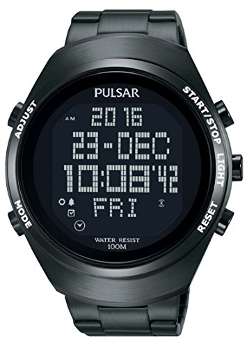 Pulsar Unisex Digital Quartz Watch with Stainless Steel Plated Bracelet – PQ2057X1