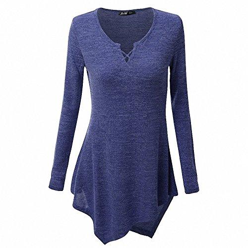 AILEESE Femmes Cavalier Occasionnel Shirt Robe Manches Longues Tops Pull Surdimensionné Pullover Lâche Sexy Sweatshirt Bleu
