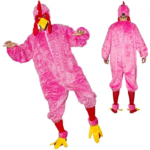 Kostüm Crazy Chicken pink Gr. 54/58 Plüsch-Overall Hahn Huhn Hühnchen (Crazy Pink Kostüme)