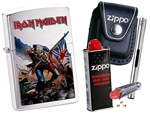 Zippo Iron Maiden Trooper + Zippo POUCH mit Zippo Zubehör und L.B Chrome Stabfeuerzeug (mit LOOP Black Pouch) (Black Chrome Zippo)