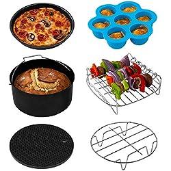 Cosori Accessoires de Friteuse sans Huile 5,5 Litre, Plateau à Pizza/Corbeille à Pain/Support en Métal/Moule à Cake/Grille de Cuisson/Cuisson à la Vapeur, C158-6AC