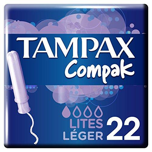 Tampax Compak Light Tampons mit Applikator aus Kunststoff, 22 Stück, 3 Packungen - Karton Applikator Tampons