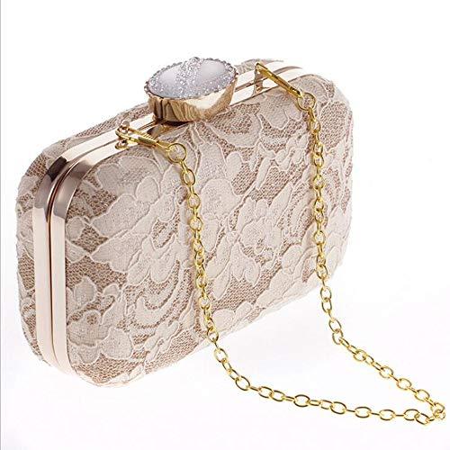 HYGL Neue Tasche Spitze Clutch Bag Abend Party Bag Party Fashion Handtaschen Fashion Bag,apricot,L - Clutch Bag Apricot