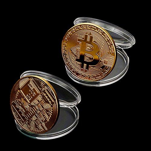 TWIFER Gold überzogene Bitcoin Münze Sammlerstück BTC Münze Kunst Sammlung Physikalisch (38mm, Gold) - 5