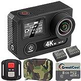 GreatCool Action Cam 4K Wifi 30FPS Sensor Panasonic Dual-Bildschirm Wireless-Fernbedienung Camera...