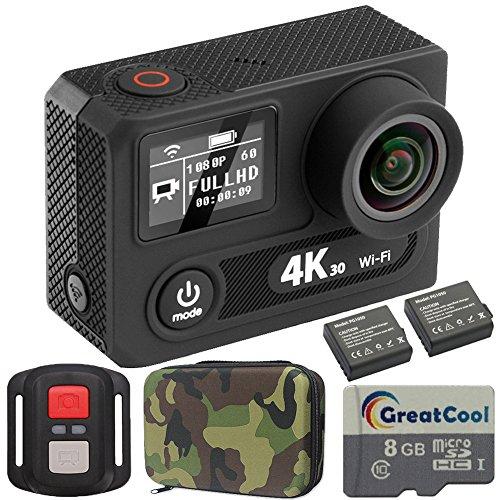 GreatCool Action Cam 4K Wifi 30FPS Sensor Panasonic Dual-Bildschirm Wireless-Fernbedienung Camera Kamera Wasserdicht mit 2 Verbesserten Batterien und kostenlose Accessoires