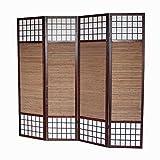 Homestyle4u 4 fach Paravent Raumteiler - Holz Trennwand Shoji mit Bambus in braun Reispapier weiß