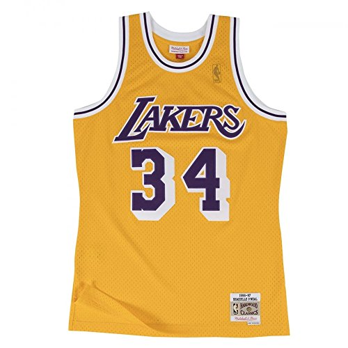 Mitchell & Ness - Maillot NBA swingman Shaquille O Neal Los Angeles Lakers Hardwood Classics Mitchell & ness jaune taille - L