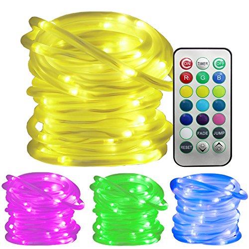 Ustellar RGB 100LED Lichterschlauch 10m LED Lichtschlauch Lichterkette mit Fernbedienung Timer, Wasserfest IP65 , 8 Helligkeit 2 Leuchtmodi, Memory-Funktion, Farbewechsel Batteriebetrieben (nicht enthält) Dekolicht für Außen Innen Weihnachten DIY Deko